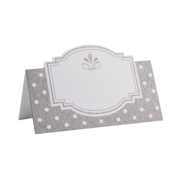 Chic Boutique Place Cards - White & Silver (50)
